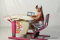 Детская парта трансформер ДЕМИ СУТ 12-02 (14-02) +стул Деми СУТ 01+(розовый) ЦВЕТЫ. Гарантия 3 года.