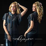 Черная шифоновая блуза с воланами