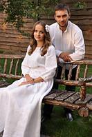 """Мужская вышиванка и женское платье """"белый лен"""""""