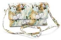 Оригинальная сумка-клатч с цветочным принтом из лакированной эко кожи Б/Н art. 018-2 green