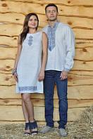 """Мужская вышиванка и женское платье """"легкий белый лен"""""""