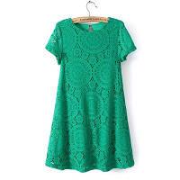 Платье женское кружевное летнее зеленое