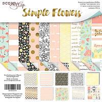 Набор бумаги от Scrap Мир - Simple Flowers, 20x20 см, 10 листов