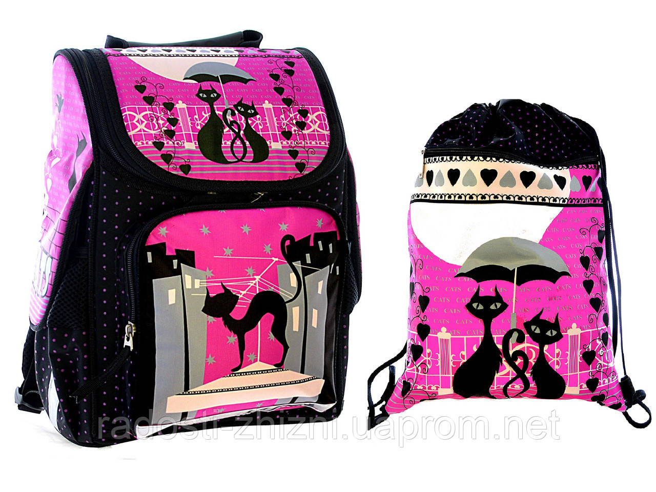 """Ранец школьный,и сумка для сменки """"Кошки"""" Vombato"""