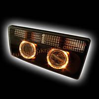 Передняя оптика для ВАЗ 2105 ангельские глазки (моноблок, черный). RS05-03823