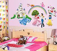 Наклейка виниловая Сказочный замок с радугой 3D декор