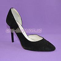 Туфли женские на шпильке, черный замш, фото 1