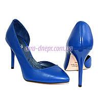Стильные женские туфли на шпильке, натуральная синяя кожа