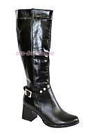 Женские кожаные сапоги на устойчивом каблуке, демисезон