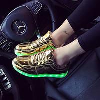 Кроссовки светящиеся золотые, фото 1