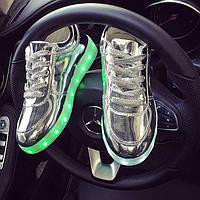 Кроссовки светящиеся серебро, фото 1