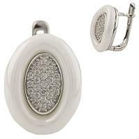 """Серьги серебро с керамикой """"Овал"""" (белые)"""