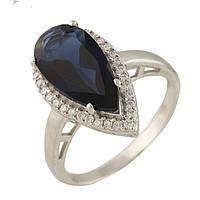 """Серебряное кольцо с сапфир кристаллом """"Капелька"""""""