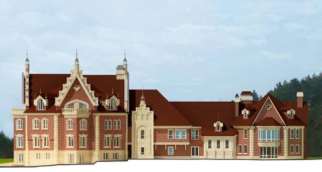Реконструкция загородного особняка в селе Ковалева, Киевской области. Задний фасад.