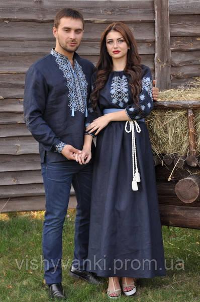 Вышиванка мужская и длинное женское платье с рукавом 3 4