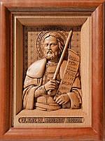 Икона деревянная резная Святого Александра Невского