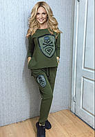 """Стильный спортивный костюм Турция """"РР"""" (хаки), фото 1"""