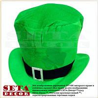 Шляпа цилиндр на прокат Лепрекон карнавальная, зеленая. На день Святого Патрика