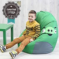 """Детское кресло мешок """"Свинка""""  XL 110x85 см зеленая, фото 1"""