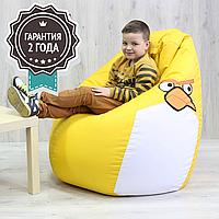 """Кресло мешок детское Angry Birds """"Птичка Желтая средняя M"""" 110x85 см (ткань: оксфорд)"""