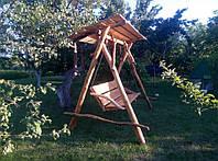 Садовые качели из натурального дерева (дуб)