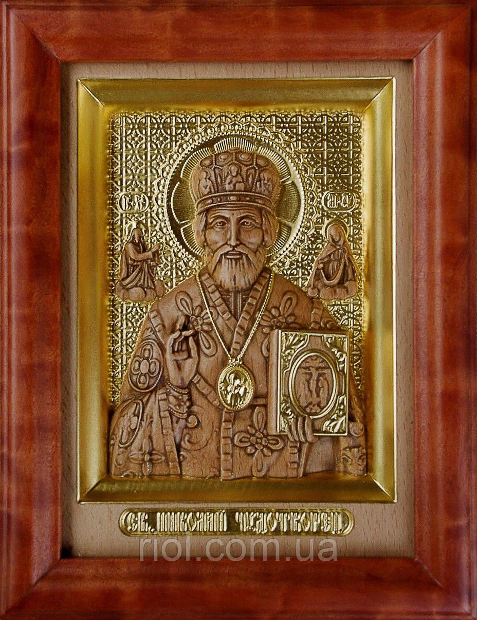 """Резная икона с сусальным золотом """"Николай Чудотворец"""""""