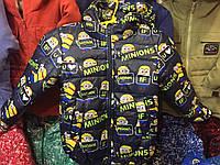 """Детская куртка ветровка """"Миньон"""" оптом 92-116 синяя, фото 1"""