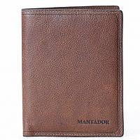 Мужской кошелек кожаный Mantador коричневый, фото 1