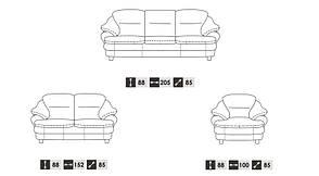 Кожаный диван с 2 креслами Sara, фото 3