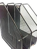 Лоток для бумаг 3отд.  вертикальный метал., фото 1