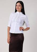 Блуза белая офисная с рукавом 3/4, воротник-стойка Р101