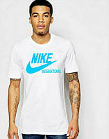 Брендовая футболка Nike, спортивная футболка найк, с голубым логотипом, трикотаж, ф430