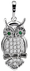 Серебряный кулон Сова с зелеными глазками