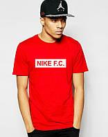 Брендовая футболка Nike, молодёжная брендовая футболка найк, оранжевая, трикотаж, ф457