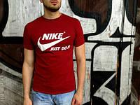 Брендовая футболка Nike, мужская, бордовая, трикотаж, хорошего качества, ф477