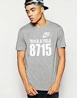Брендовая футболка Nike, мужская футболка найк, с серым принтом, мужская, ф528