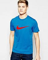 Брендовая футболка Nike, синяя футболка найк, мужская, молодёжная, ф549