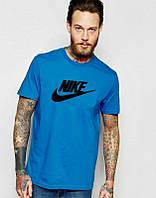 Брендовая футболка Nike, отличного качества, мужская, синяя футболка найк, ф547