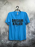 Брендовая футболка Nike, найк, синяя, мужская с черным логотипом ф577