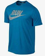 Брендовая футболка Nike, синяя, с логотипом, мужская, найк ф581