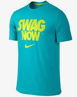 Брендовая футболка Nike, бирюзовая, мужская с цветным принтом, найк ф582