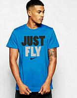 Брендовая футболка Nike, светло-голубая, найк, ф586