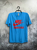 Брендовая футболка Nike, мужская, голубая, найк, с красным логотипом ф593