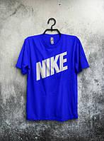 Брендовая футболка Nike, синяя, с большим принтом, летняя, хорошего качества, ф1683