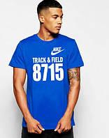 Брендовая футболка Nike, стильная футболка найк, синяя, мужская, с белым принтом, ф1783