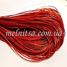 Декоративный металлизированный шнур, 1,5 мм, цвет красный, 5 м