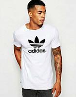 Брендовая футболка Adidas, футболка адидас, белая, летняя, мужская, летняя ф1885