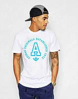 Брендовая футболка Adidas, футболка адидас, белая, с большим лого, мужская, летняя ф1887