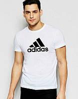 Брендовая футболка Adidas, футболка адидас, белая, мужская, черное лого, летняя ф1889