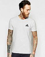 Брендовая футболка Adidas, адидас, мужская, летняя,белая, хлопок, спортивная ф1891